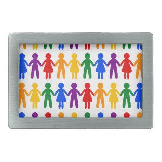 Rainbow People Pattern Rectangular Belt Buckle