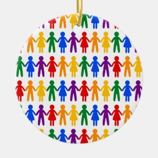 Rainbow People Pattern Round Ceramic Decoration