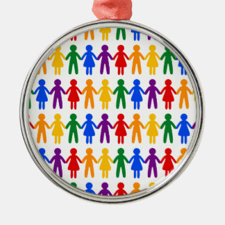 Rainbow People Pattern Silver-Colored Round Decoration