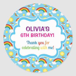 Rainbow personalised personalized cute cloud seals round sticker