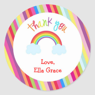 Rainbow Personalized Thank You Favor Stickers
