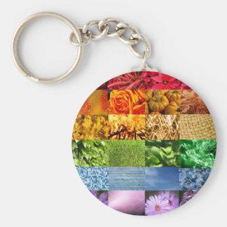 Rainbow Photo Collage Basic Round Button Key Ring