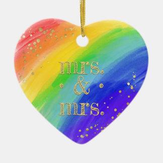 Rainbow & Photo LGBT Love is Love Watercolor Christmas Ornament