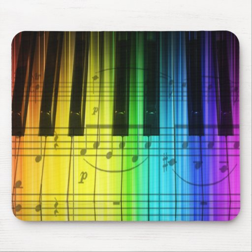 Rainbow Piano Keyboard and Notes Mousepads