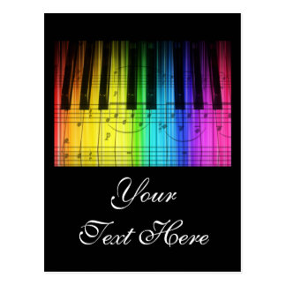 Rainbow Piano Keyboard and Notes Post Cards