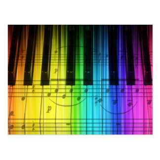 Rainbow Piano Keyboard and Notes Postcard