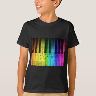 Rainbow Piano Keyboard and Notes T-Shirt