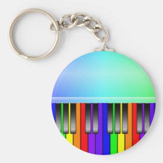 Rainbow Piano Keyboard Basic Round Button Key Ring