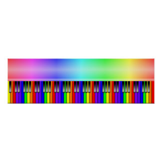 Rainbow Piano Keyboard Poster