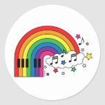 Rainbow Piano Round Stickers