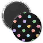 Rainbow Pig Pattern on black 6 Cm Round Magnet