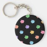 Rainbow Pig Pattern on black Basic Round Button Key Ring