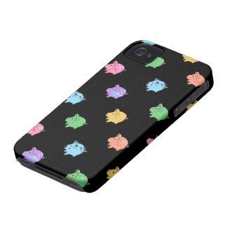 Rainbow Pig Pattern on black iPhone 4 Case-Mate Case