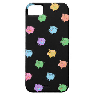 Rainbow Pig Pattern on black Case For The iPhone 5