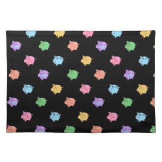 Rainbow Pig Pattern on black Place Mat