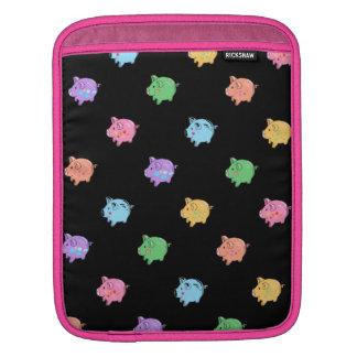 Rainbow Pig Pattern on black iPad Sleeve