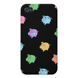 Rainbow Pig Pattern on black iPhone 4 Covers