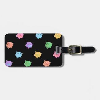 Rainbow Pig Pattern on black Luggage Tag