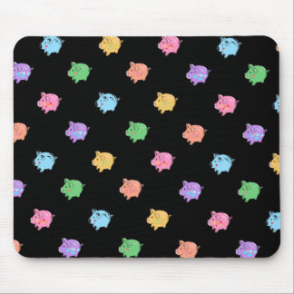 Rainbow Pig Pattern on black Mousepads