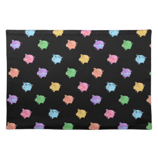 Rainbow Pig Pattern on black Placemat