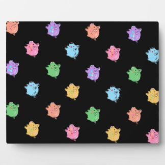 Rainbow Pig Pattern on black Plaque