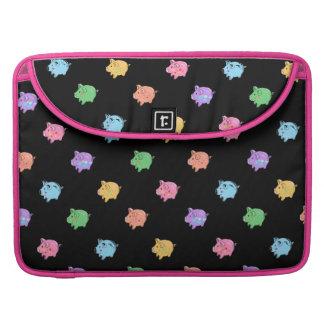Rainbow Pig Pattern on black Sleeve For MacBook Pro
