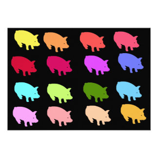 Rainbow Pigs Personalized Announcements