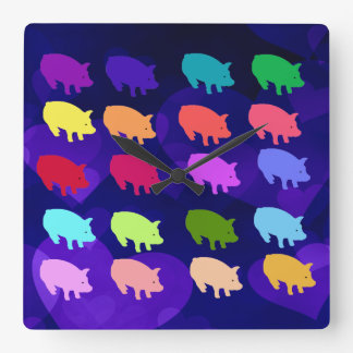 Rainbow Pigs Square Wall Clock