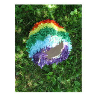 Rainbow Piñata after the party Postcard