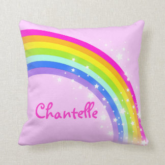 "rainbow pink - girls ""your name"" cushion pillow"