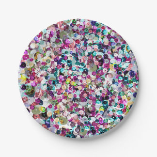 Rainbow Pink Sequin Sparkles All Over Print 7 Inch Paper Plate