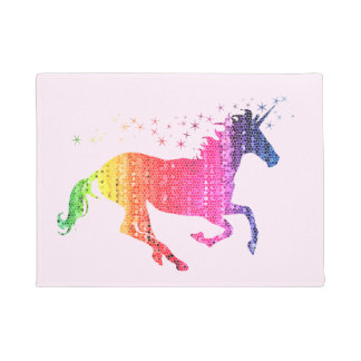 Rainbow Pink Unicorn Doormat