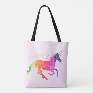 Rainbow Pink Unicorn Tote Bag