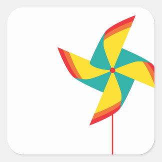 rainbow pinwheel square sticker