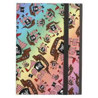 Rainbow pirate ship pattern iPad air cover