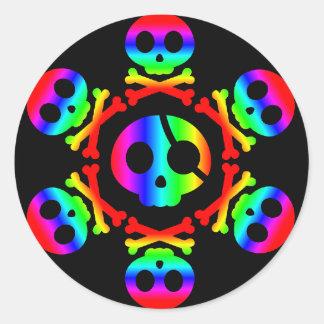 Rainbow  Pirate Skull and Crossbones 3 sticker