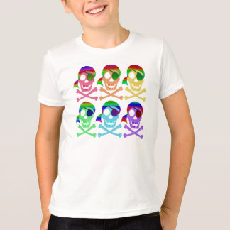 Rainbow Pirate Skulls Kids' Shirts