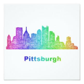 Rainbow Pittsburgh skyline 13 Cm X 13 Cm Square Invitation Card