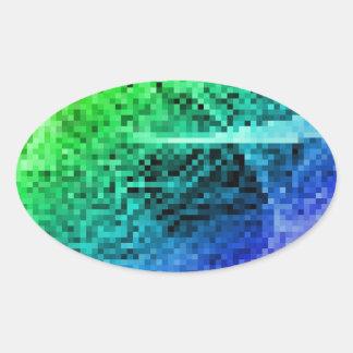 rainbow pixel oval sticker