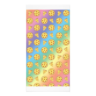 Rainbow pizza pattern picture card