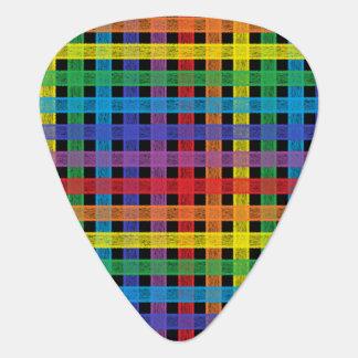 Rainbow Plaid Black Guitar Pick