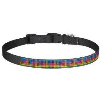 Rainbow Plaid Black Pet Collar