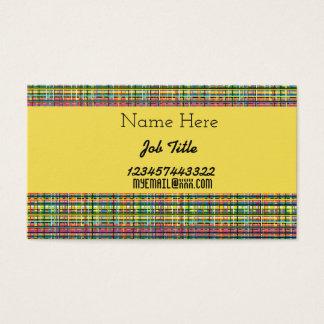 rainbow plaid business card