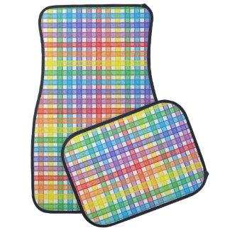 Rainbow Plaid Car Mat