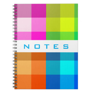 Rainbow Plaid Customize With Your Text Notebook
