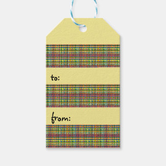 rainbow plaid gift tag