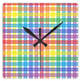 Rainbow Plaid Square Wall Clock