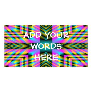 Rainbow Plaid Warped Design Photo Greeting Card