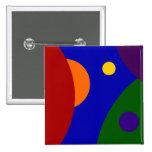 Rainbow Planets 15 Cm Square Badge