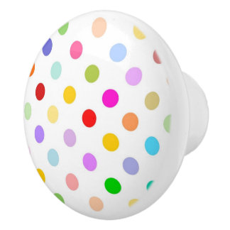 Rainbow Polka dot pattern Ceramic Knob